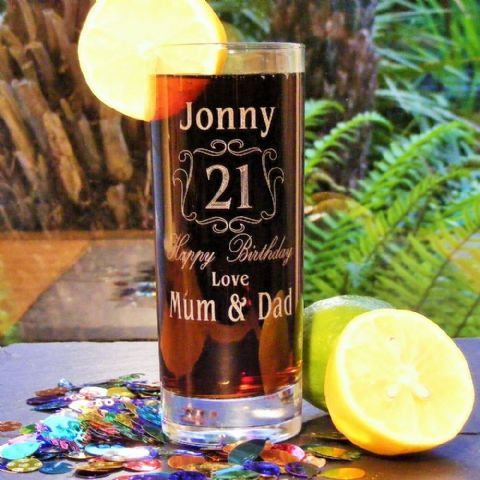 Personalised Birthday Age Hi Ball Drinks Glass